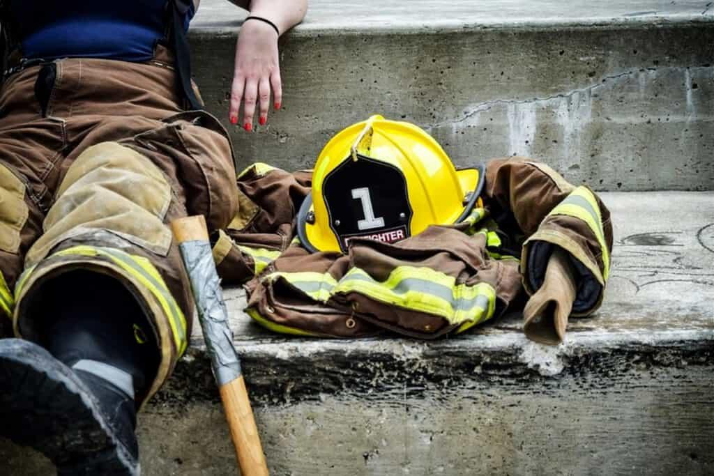 bombero descansando